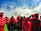 Niagara, Canada - 07 Sep, 2014: Boat Full of Tourists Gets Sprayed by Horseshoe Waterfall Under Rainbow in Niagara Falls Ontario Canada