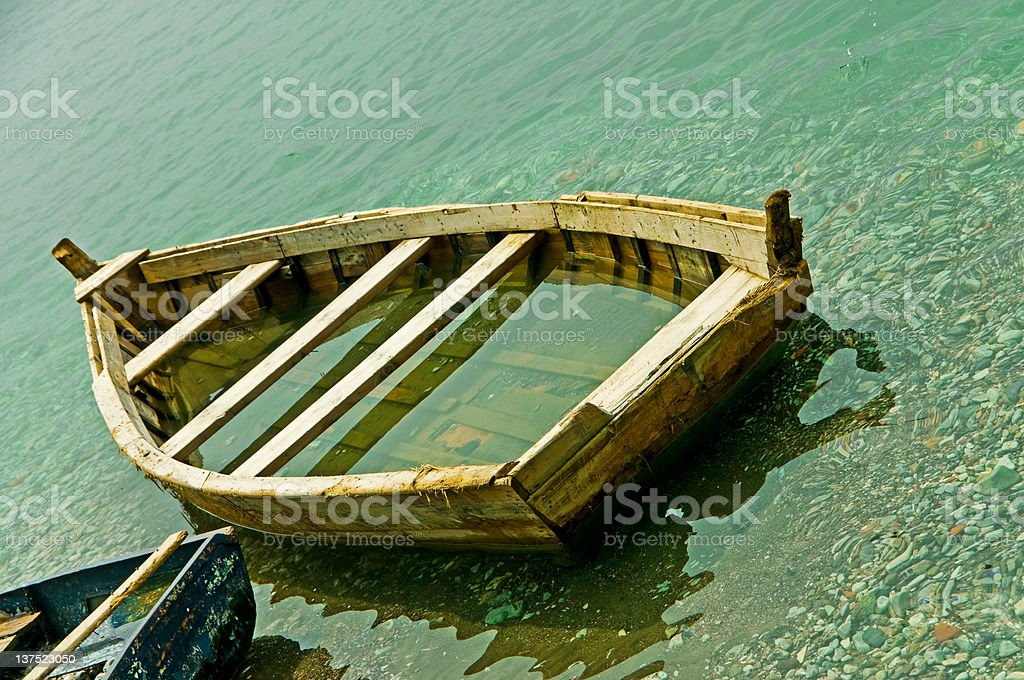 Boat Full of Water - Royalty-free Abandoned Stock Photo