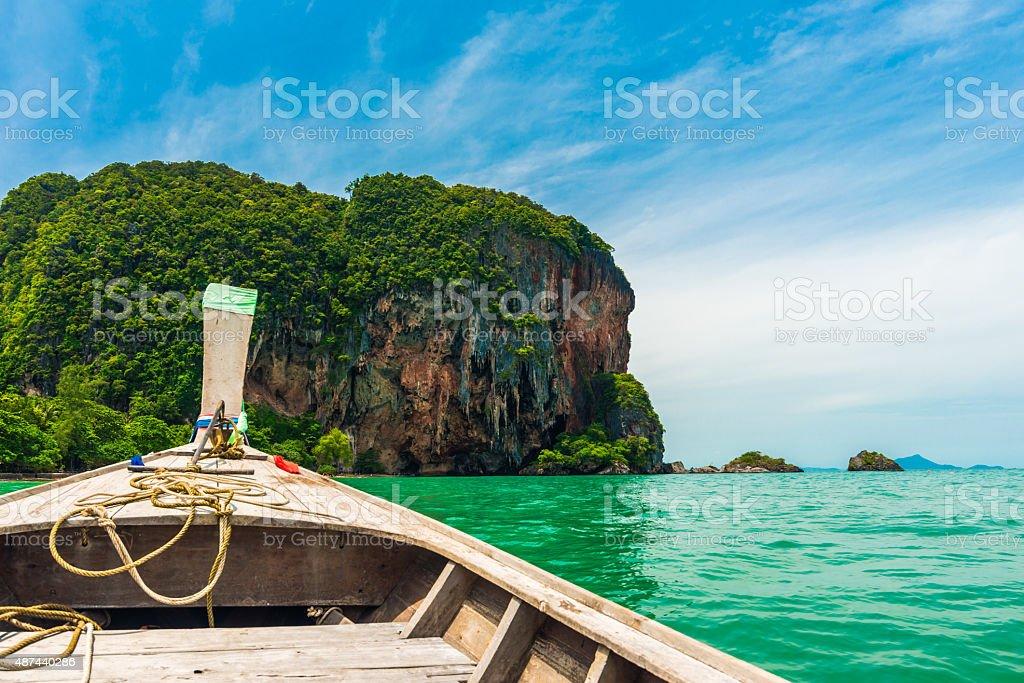 Boat go to Railay beach stock photo