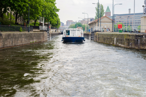 Boat going through Berlin gateways