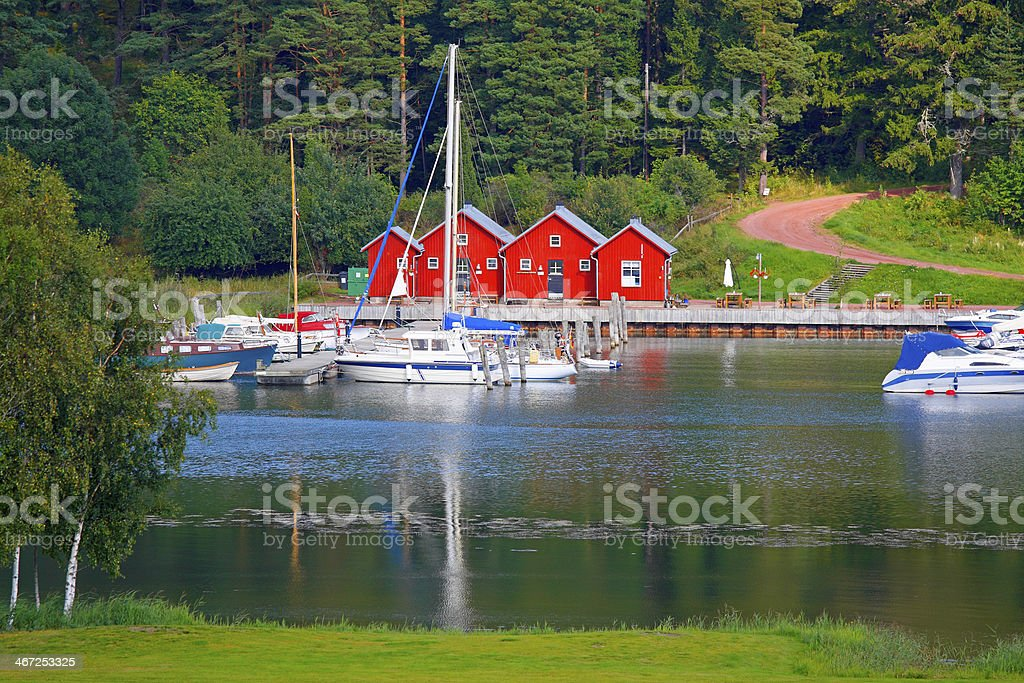 Boat harbor in Kastelholm. stock photo