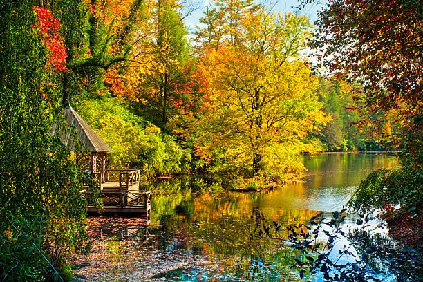 Botes en el otoño, Asheville, Carolina del Norte, EE.UU. - foto de stock