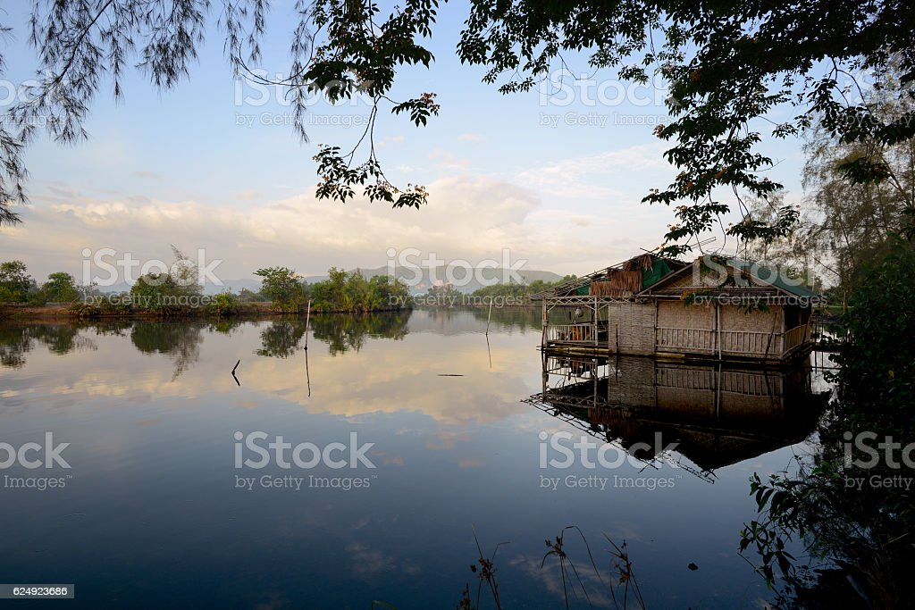 Boat house on a river in Songkhla in beautiful morning stock photo