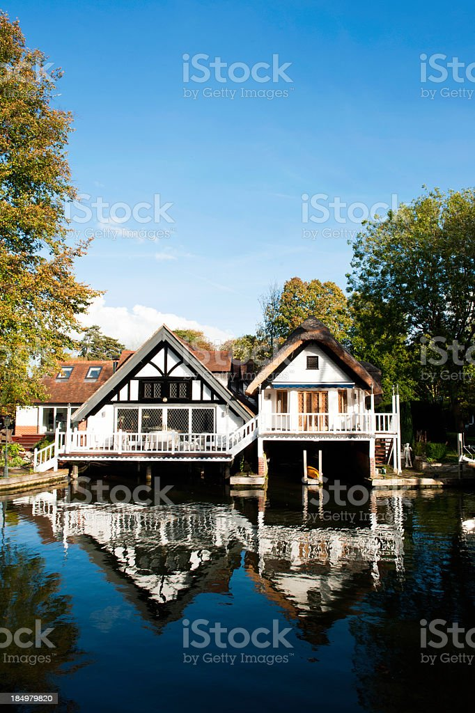 Boat House on the river Thames royalty-free stock photo