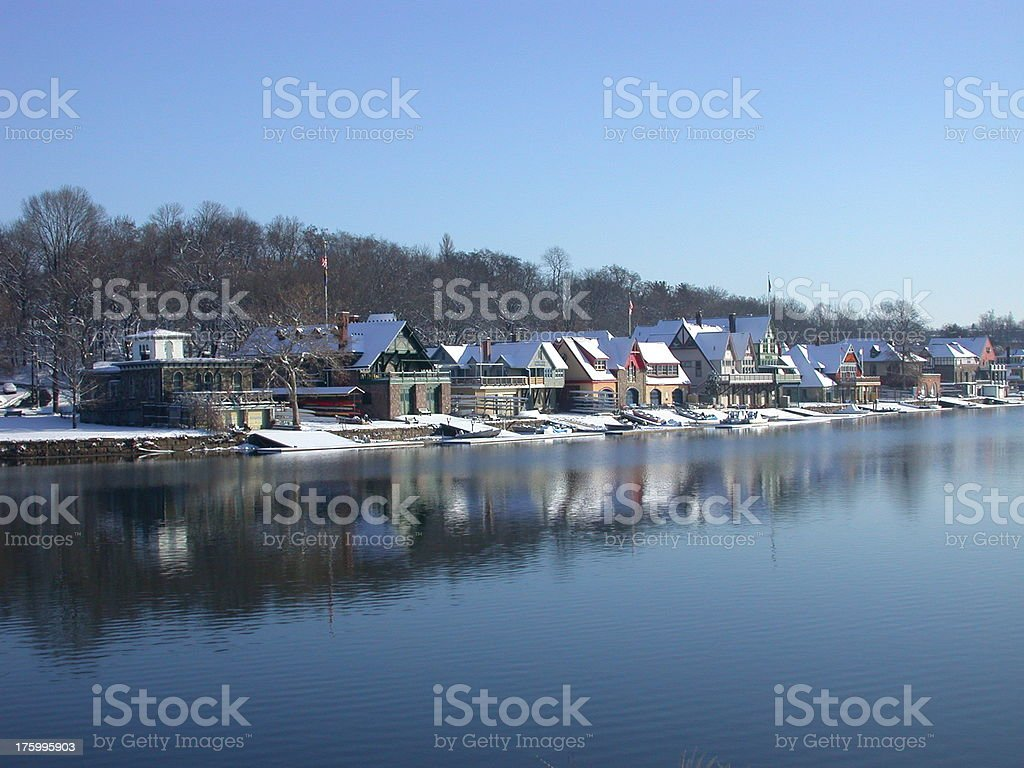 Boat House Row in Winter stock photo