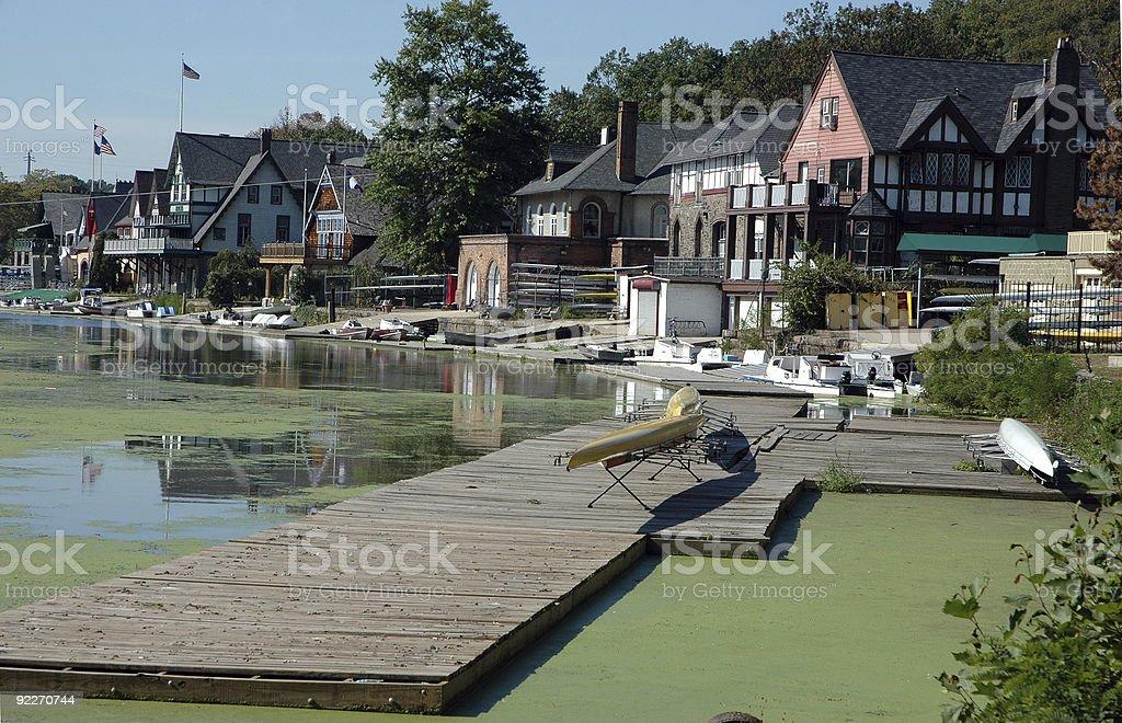 boat house row stock photo