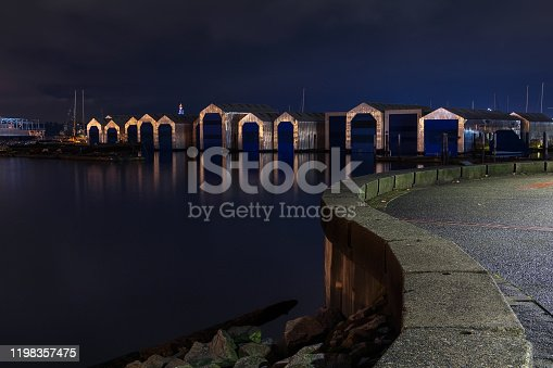 Boat houses located in North Vancouver.