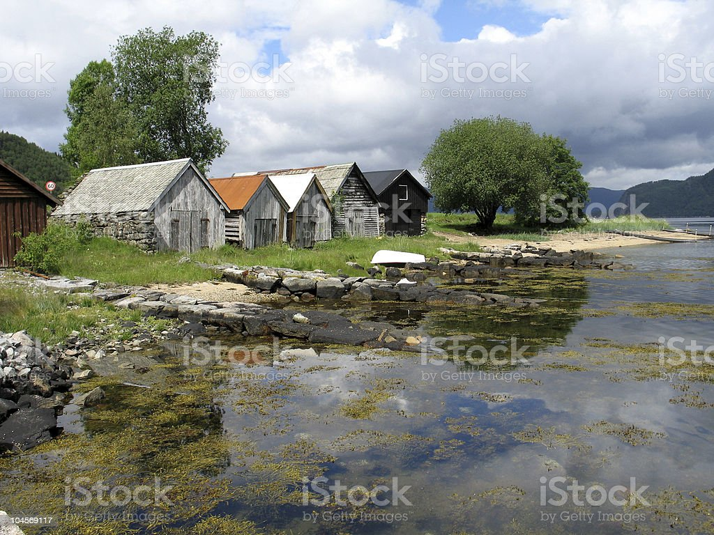 Boat houses at the fjord royalty-free stock photo