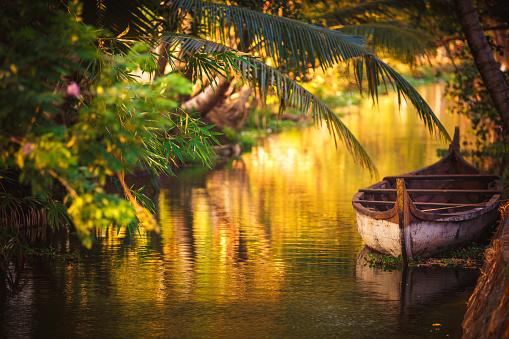 Chinese fishing net at sunset Kochi, Kerala, India.