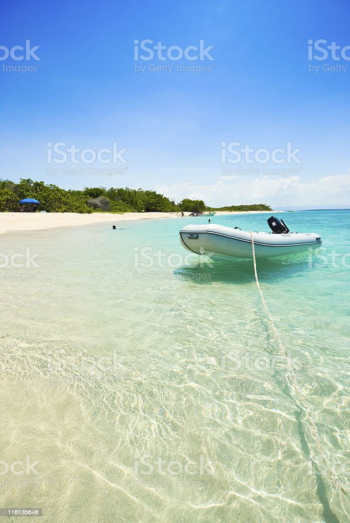 Boat in a Tropical Island Beach stock photo