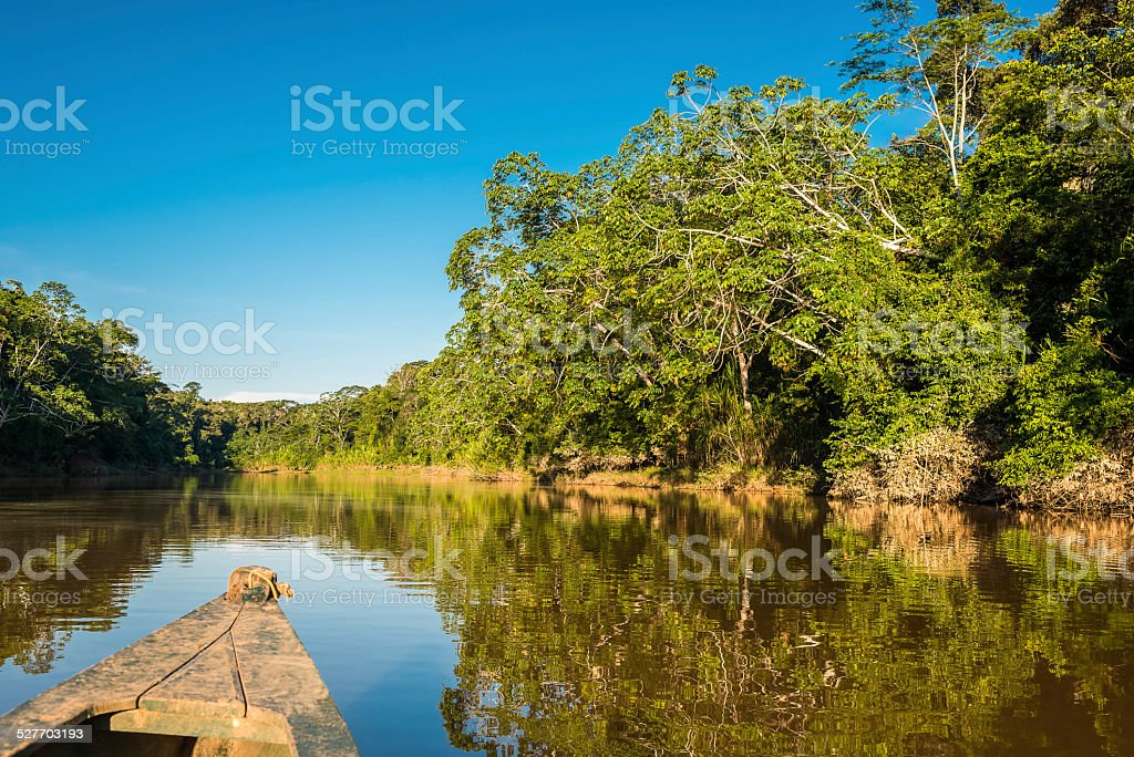 boat in Amazon jungle river at Madre de Dios peru stock photo