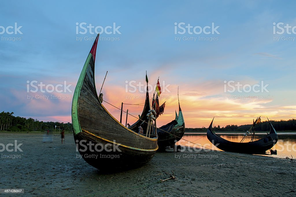 A boat in Bangladesh on the beach stock photo