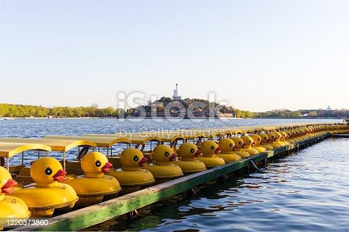 The little yellow duck boat in Beihai Park
