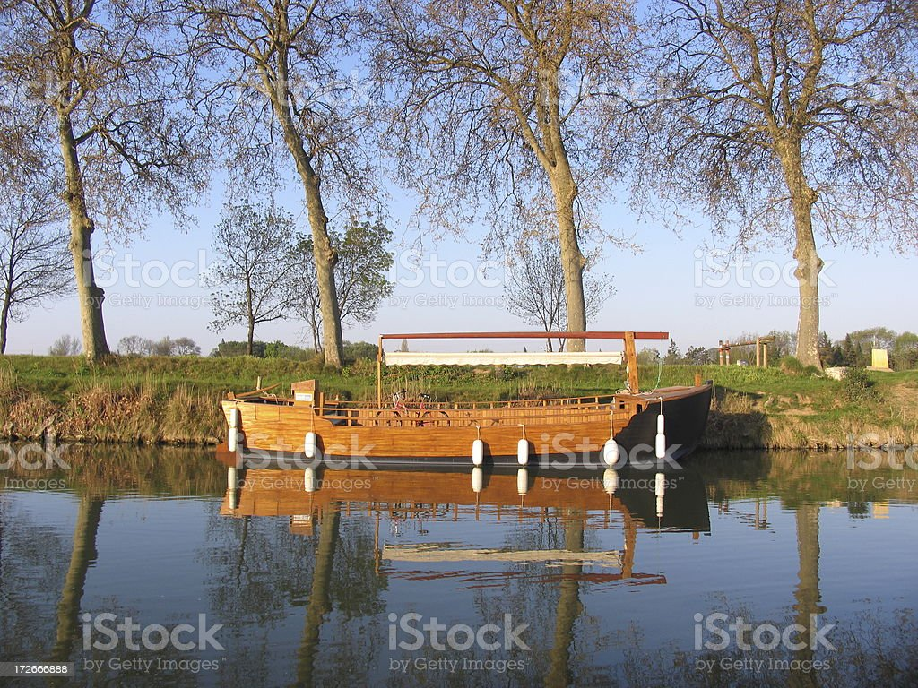 boat in Canal du Midi royalty-free stock photo