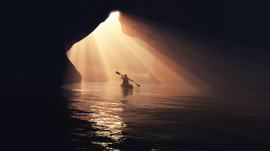Kayaker afloating to the cave. This is a 3d render illustration