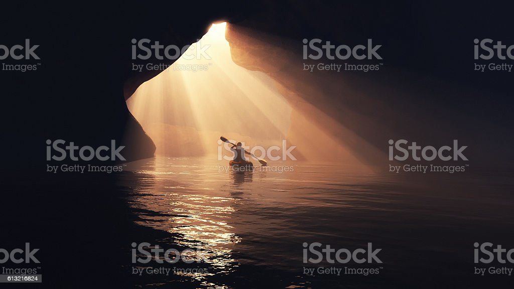 Boat in cave. stock photo