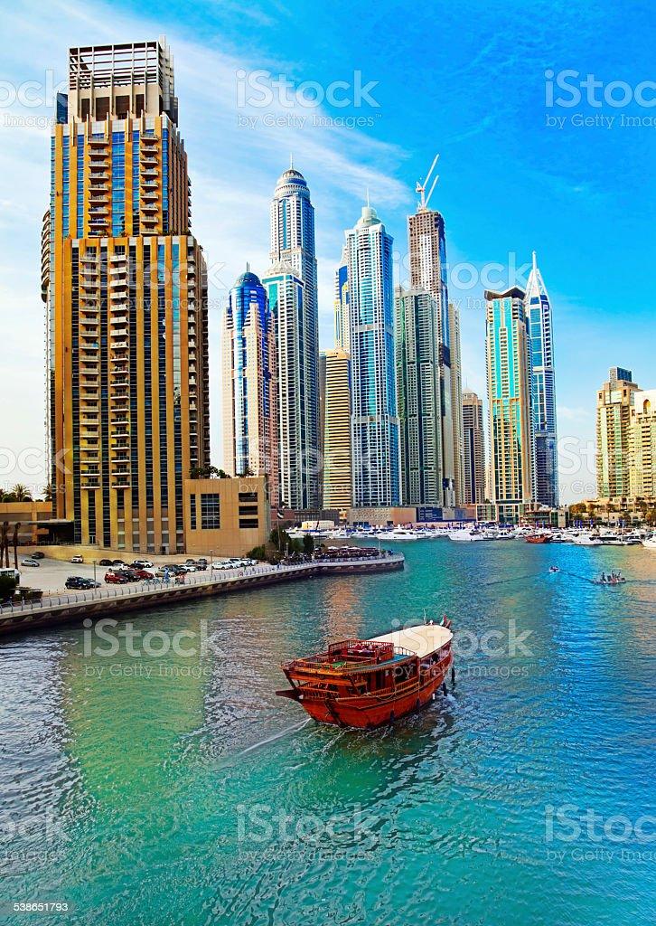 Boat in Dubai Marina stock photo
