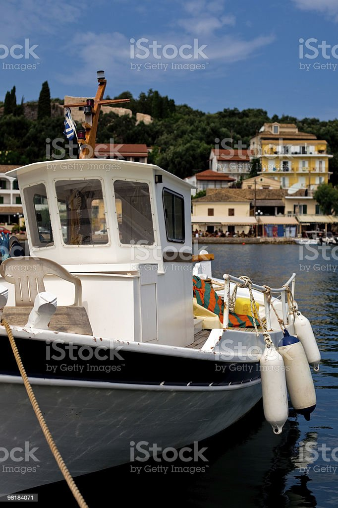 boat in Kerkira island bay royalty-free stock photo