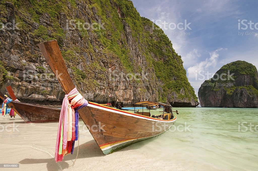 Boat in Maya bay. royalty-free stock photo