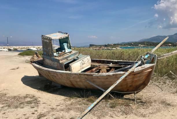 Boat in need of repair stock photo