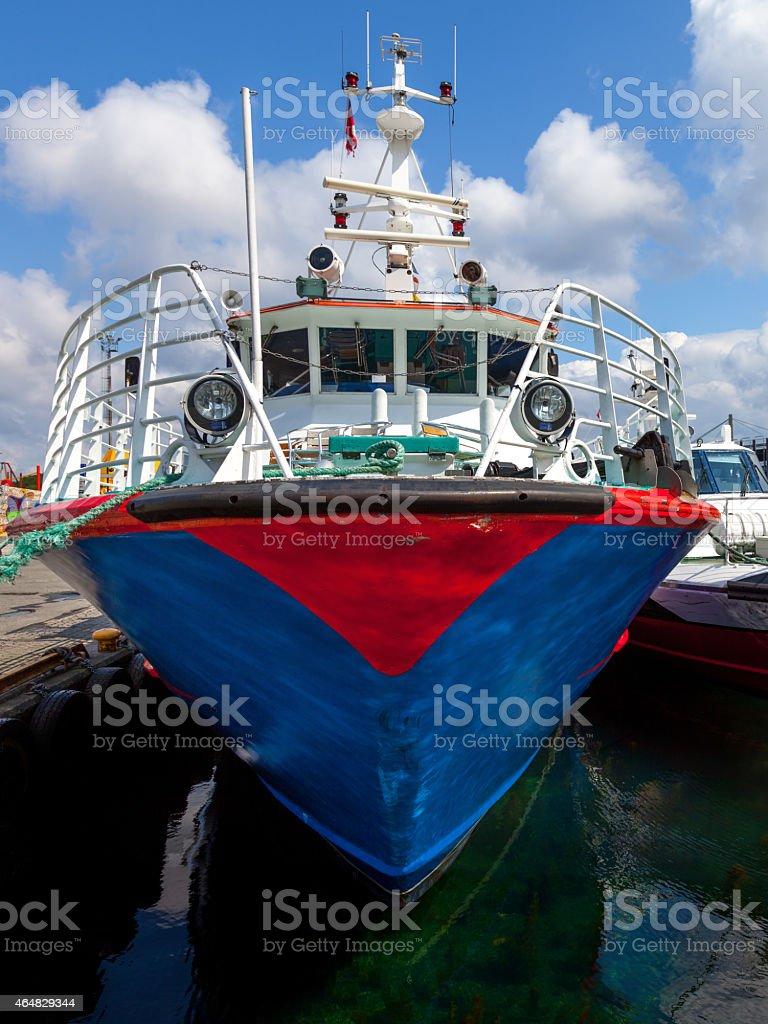 Boat in port stock photo