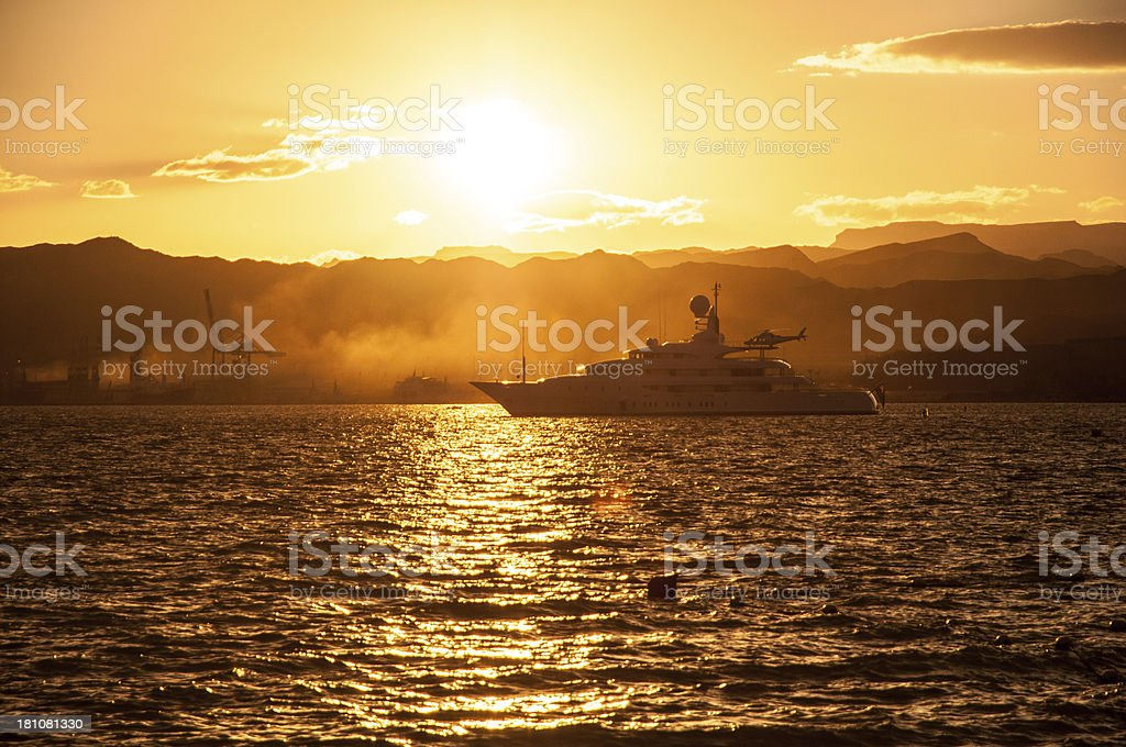 Boat in Red sea at sunset royalty-free stock photo