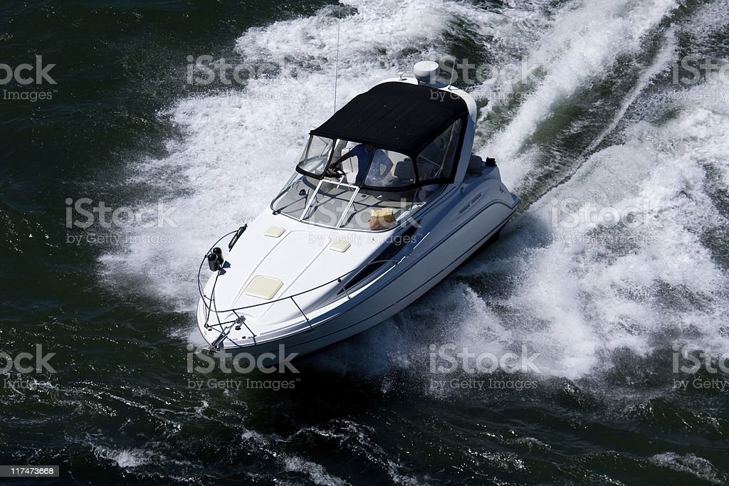 Boat in Rough Water royalty-free stock photo