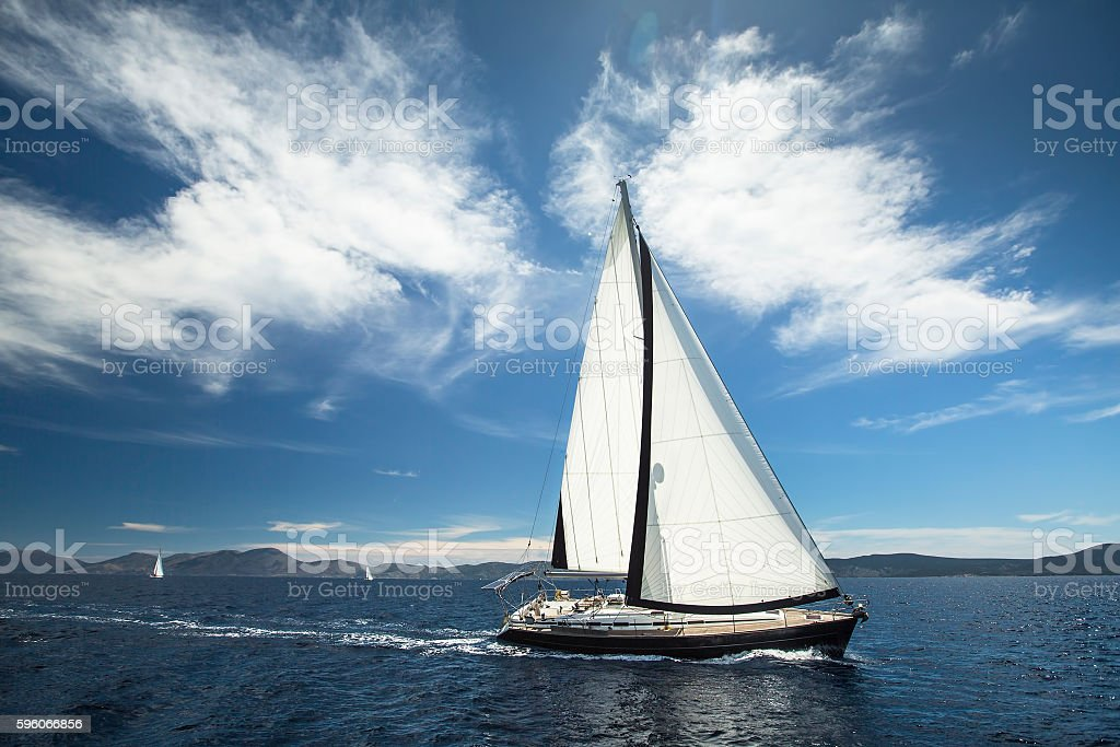 Boat in sailing regatta on the sea. Luxury yachts. royalty-free stock photo