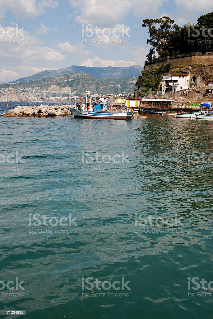 Boat in Sorrento gulf stock photo