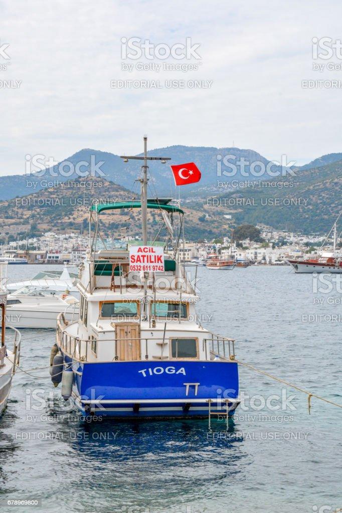 Bateau dans la mer Égée. Bodrum, Muğla, Turquie photo libre de droits
