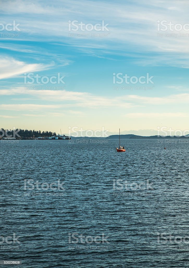 Boat in the bay, Bellingham Washington stock photo