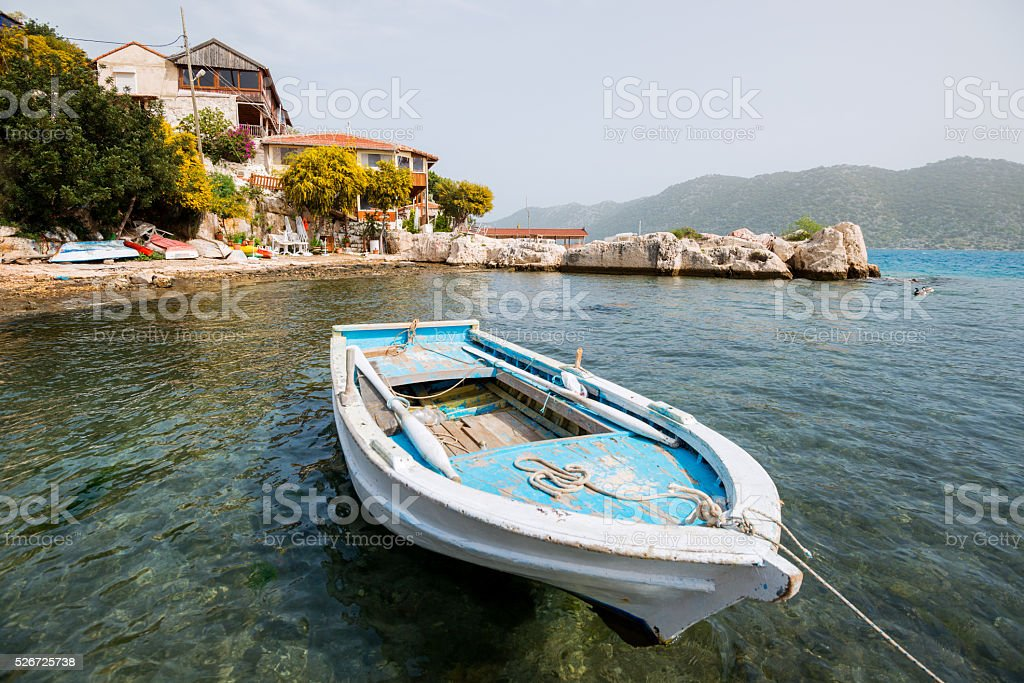 Boat in the Mediterranean harbor stok fotoğrafı