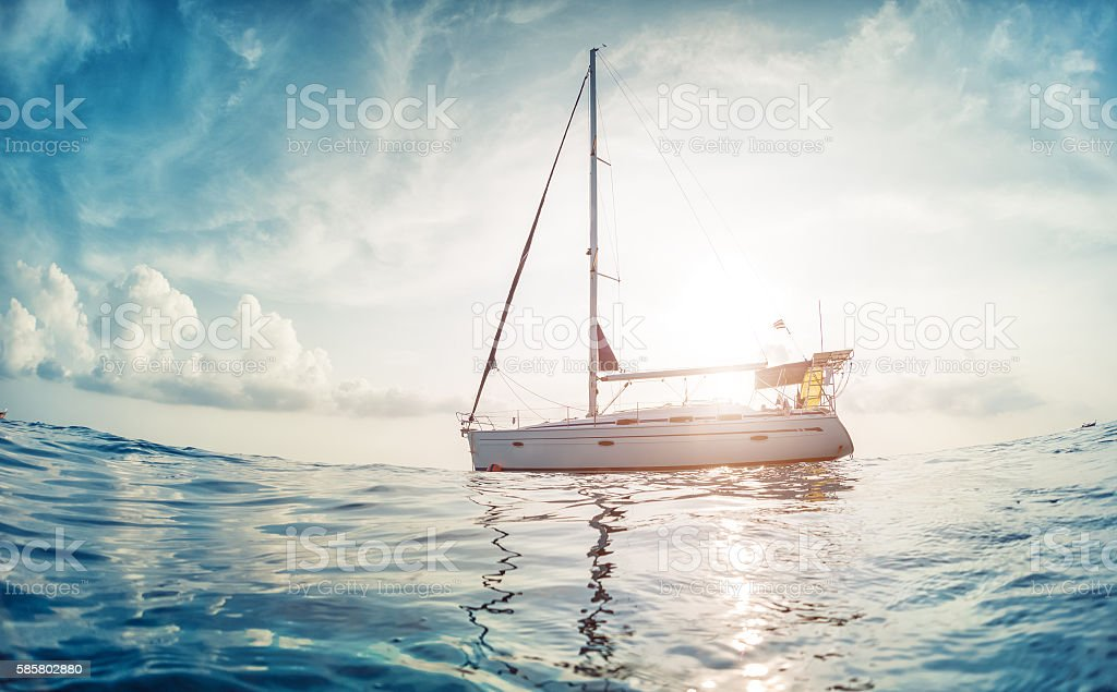 Boat in the ocean stock photo