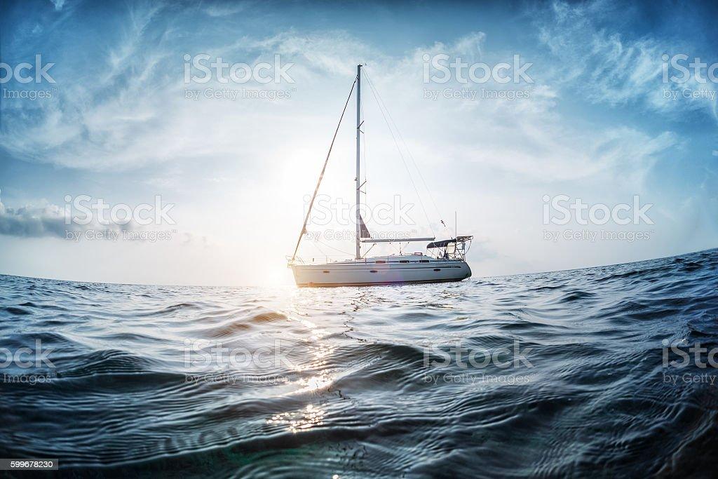 Boat in the ocean stock photo
