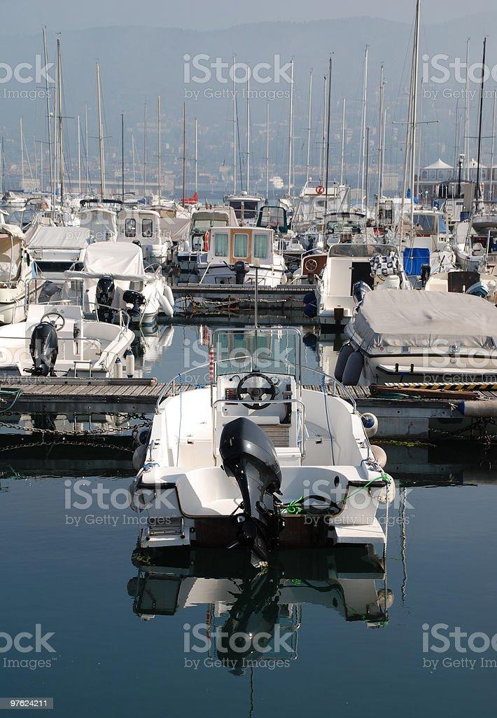 Boat in Trieste Marina royaltyfri bildbanksbilder