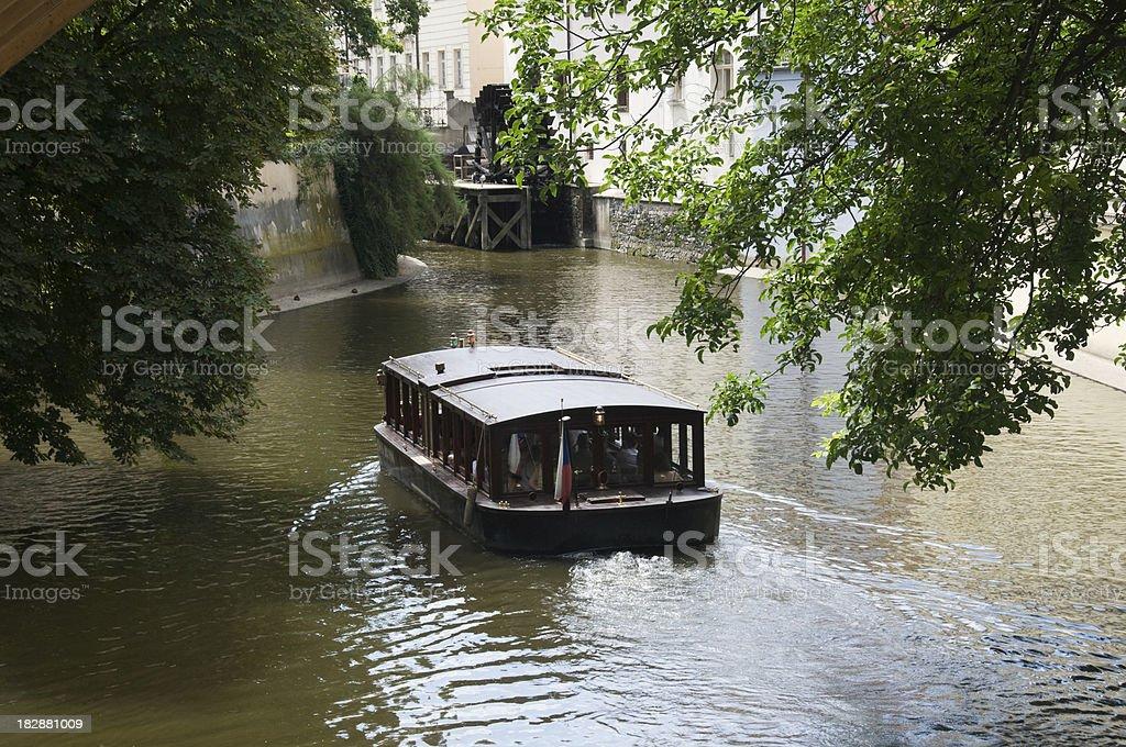 Boat in Vltava River, Prague, Czech Republic stock photo