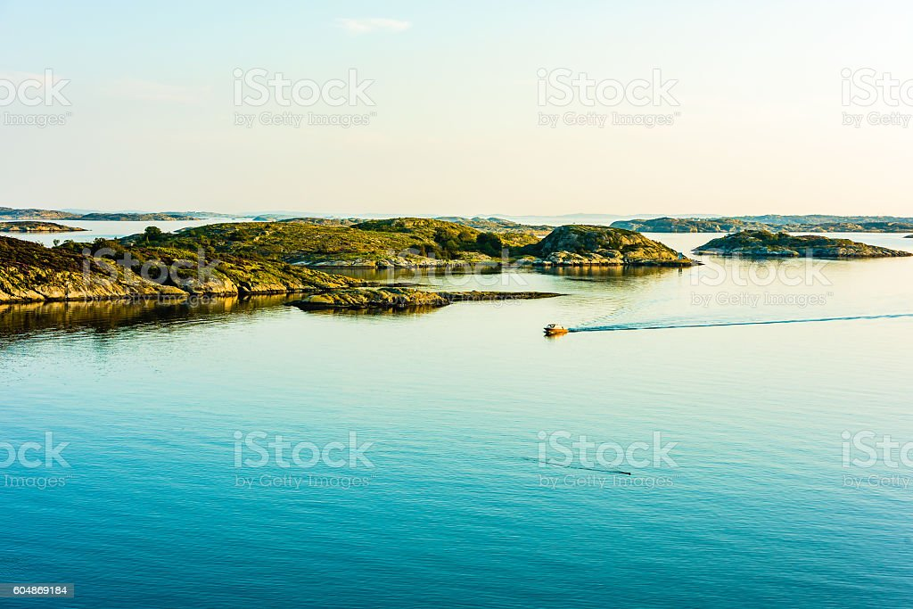 Boat in windless sea stock photo