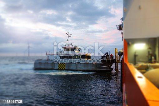 Wind-turbine, offshore, high up, boat, sea, renewable energy, blade