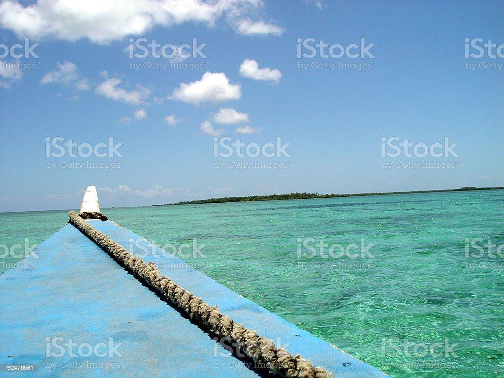 Boat, Island and Sea stock photo