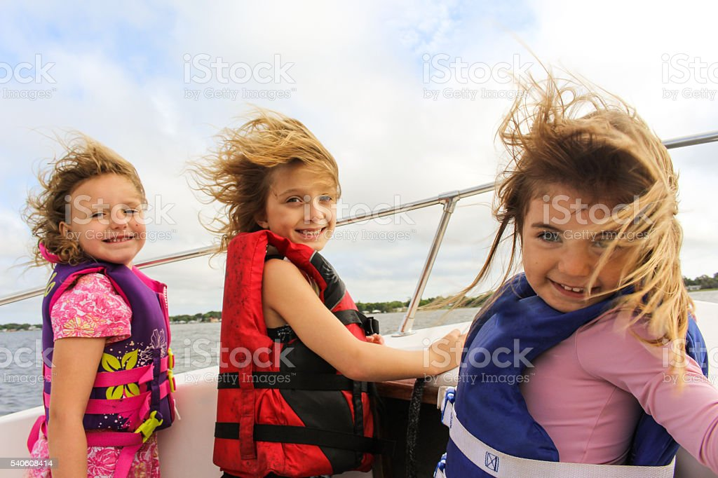Boat Kids stock photo