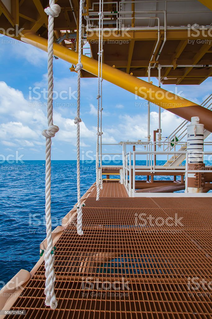 Boat landding and swing rope stock photo