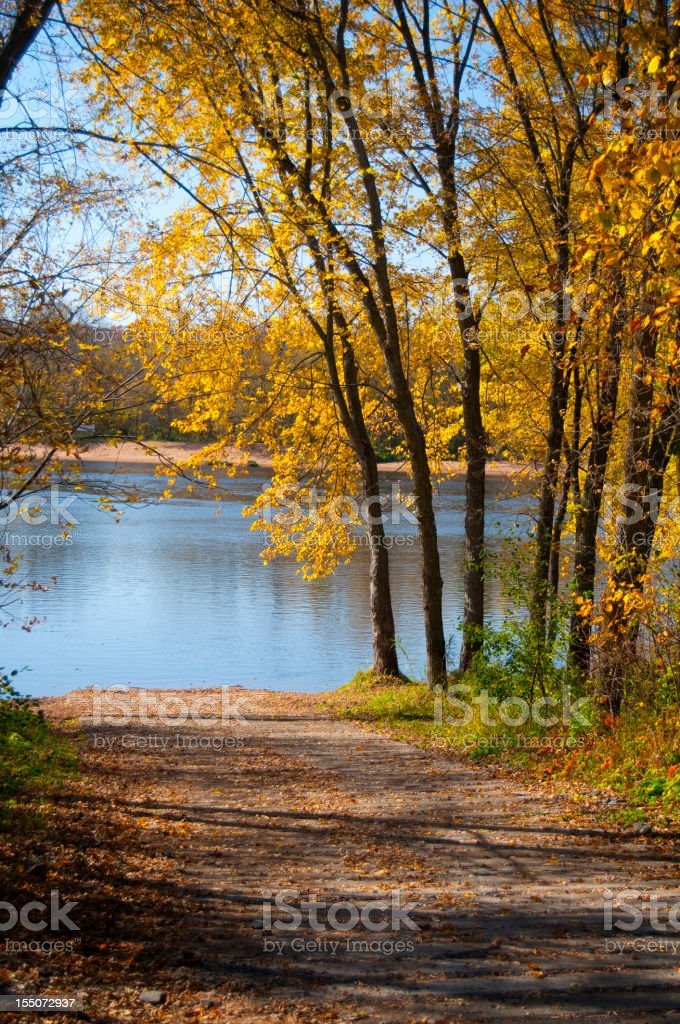 Boat Launch on the St. Croix River stock photo