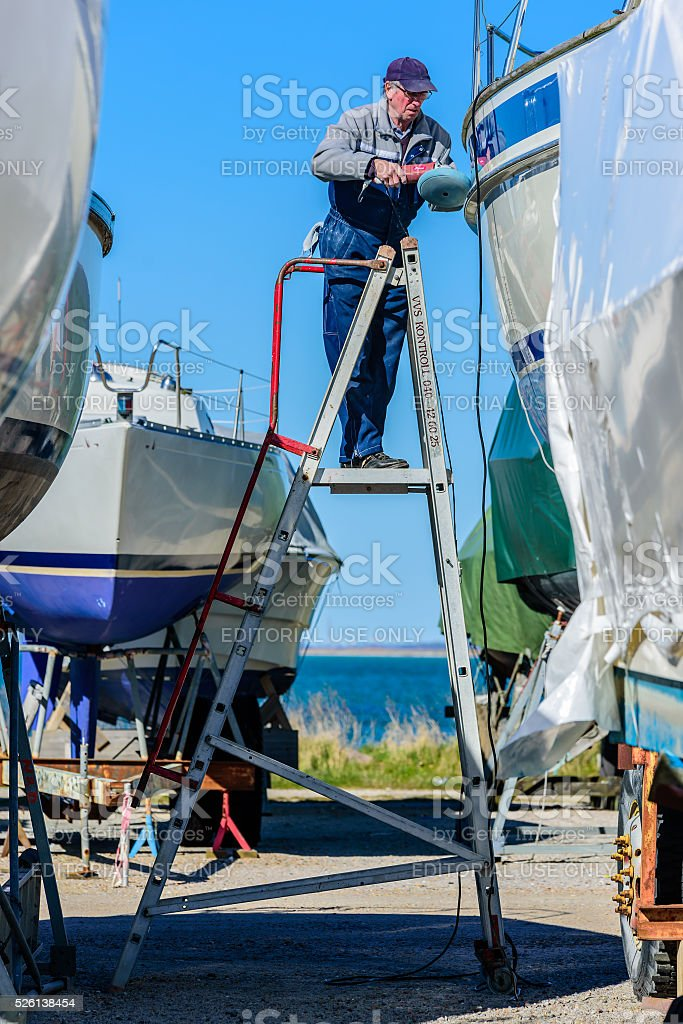 Boat maintenance stock photo