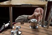 Boat maintenance, repair on the cork deck