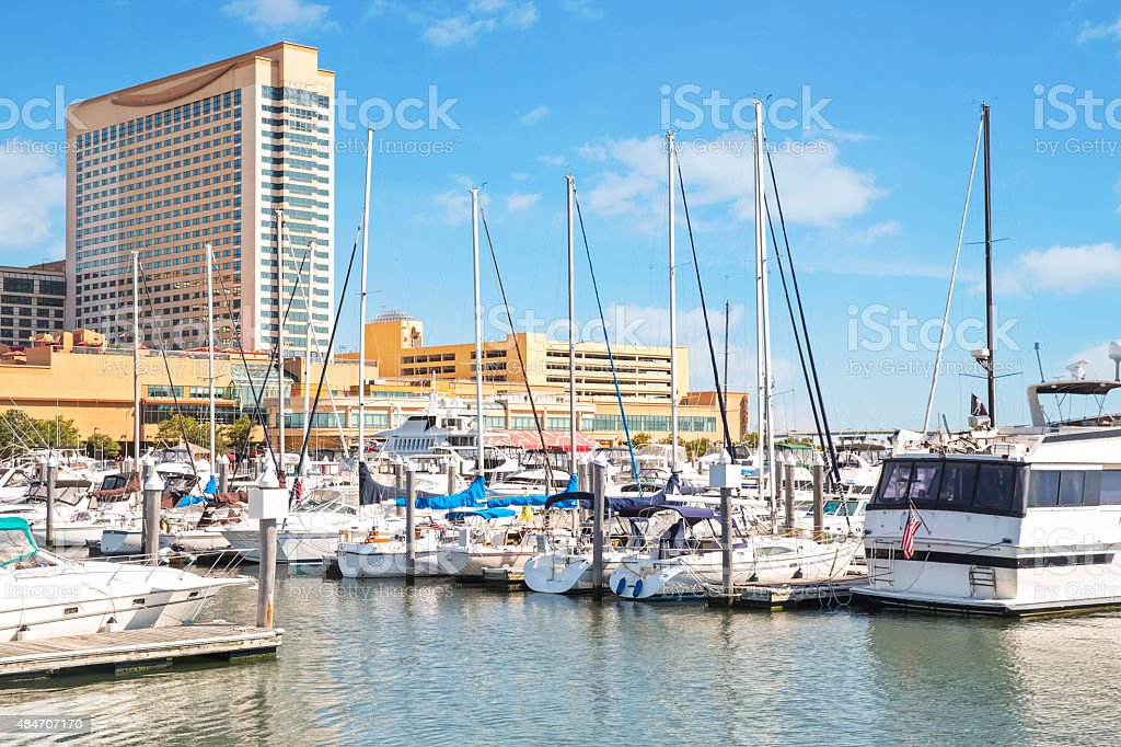 Boat marina at harbor in Atlantic City, New Jersey stock photo