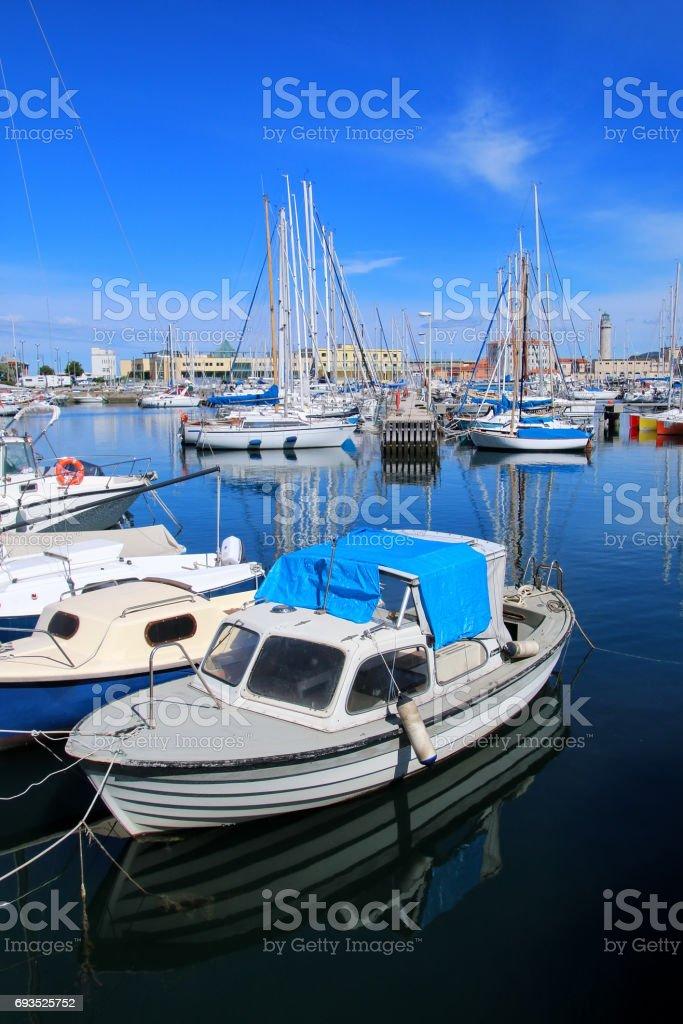 Boat marina in Trieste, Italy stock photo