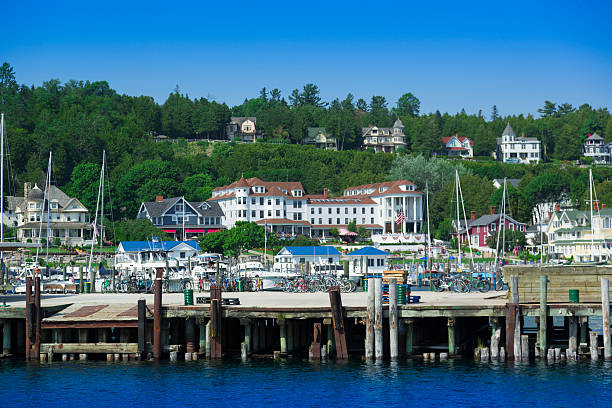 boat marina - mackinac island stock photos and pictures