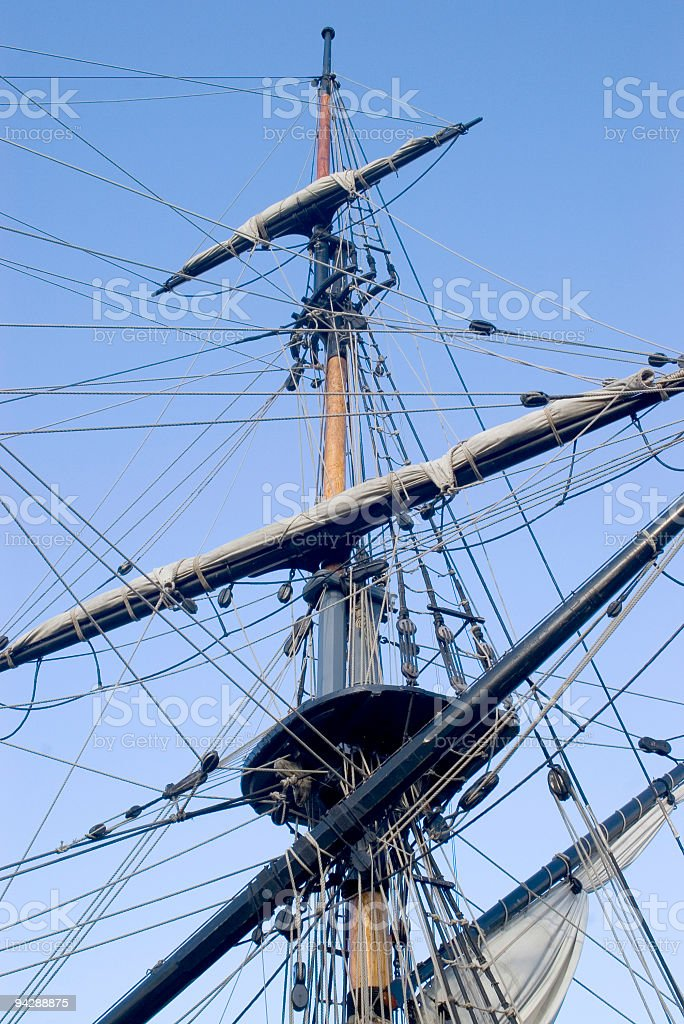 Boat mast, sails and rigging royalty-free stock photo
