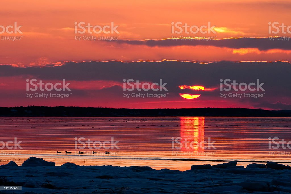 Boat Meadow Beach Sunset royalty-free stock photo