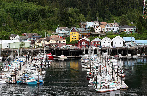 Boat Moorage Quiet moorage in Ketchikan Alaska ketchikan stock pictures, royalty-free photos & images